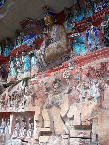 Baoding - Bas relief about Master Liu Benzun and the kings of wisdom