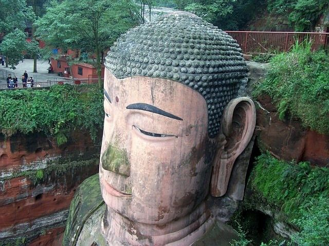 Leshan Buddhist site - Head of the great Buddha