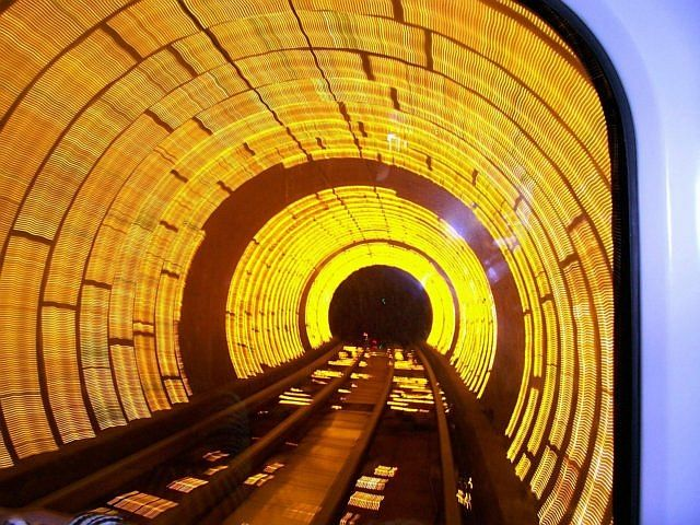 Pudong gallery - Bund scenic tunnel with yellow beams