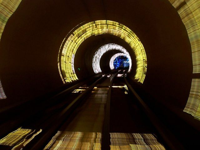 Pudong - Bund scenic tunnel with light beams