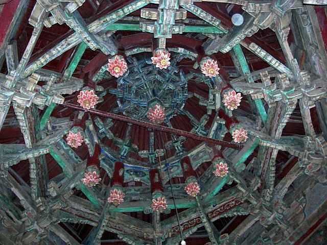 Great mosque - Flowers shaped patterns of the roofing of the phoenix pavilion