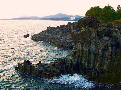 Basalt cliffs of jusangjeolli