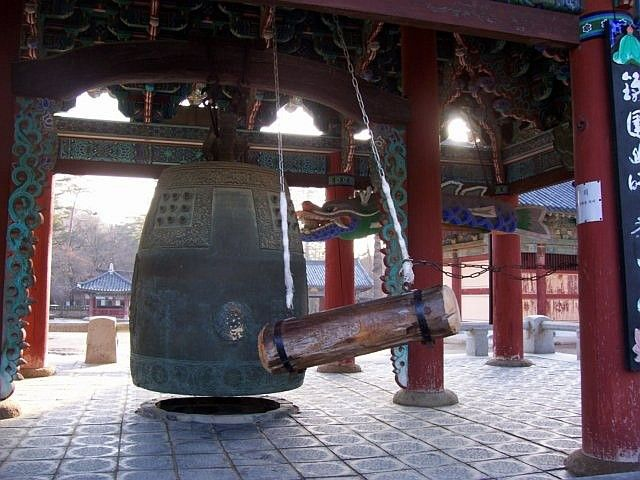 Beopjusa temple - Bell and hollow fish of the belfry