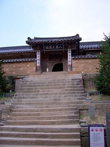 Haeinsa temple - Stairs leading to the storing room of Tripitaka