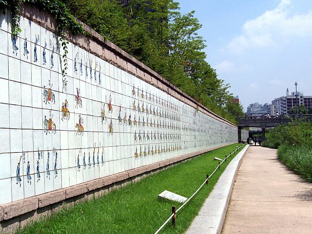 Tiles paintings representing the procession of King Jeonjo