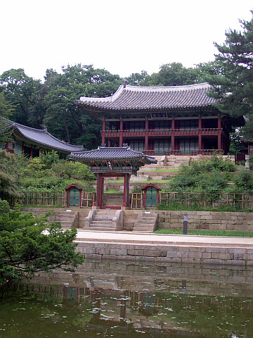 Changdeokgung palace - Hall in the secret garden with reflection in the water