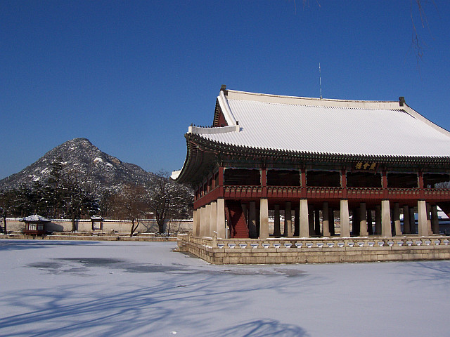 Gyeongbokgung palace - Gyeonghoeru pavilion in the snow during winter