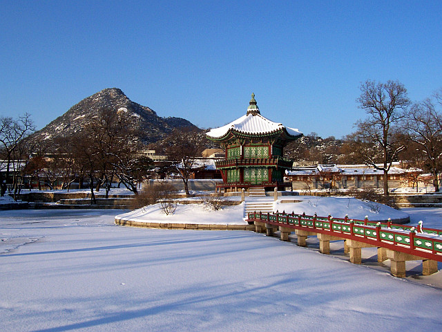 Gyeongbokgung palace - Hyangwonjeong pavilion under the snow in winter