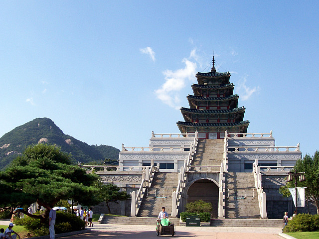 Great pagoda in front of Mount Bukhansan