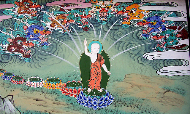 Guksadang temple - Painting about the birth of Buddha