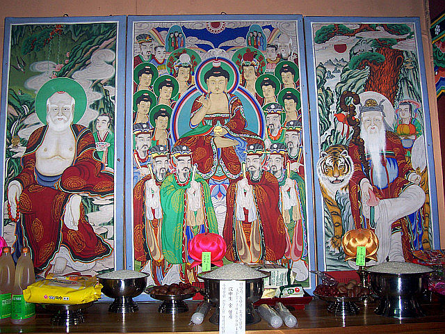 Guksadang temple - Dokseong, Chilseong and Sanshin (Korean shamanistic figures)