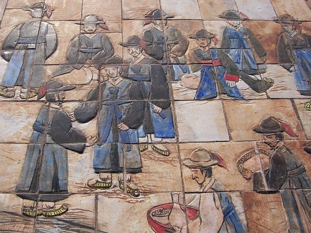 Hwaseong fortress - Tiles of the square in front of the palace (view 3)