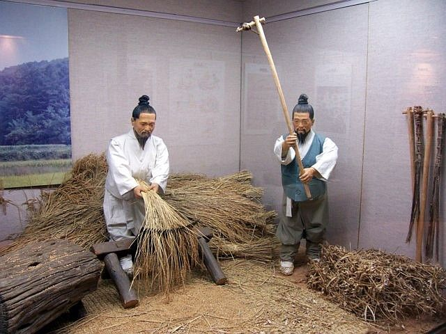Yong-in folk village - Model on the rice harvest
