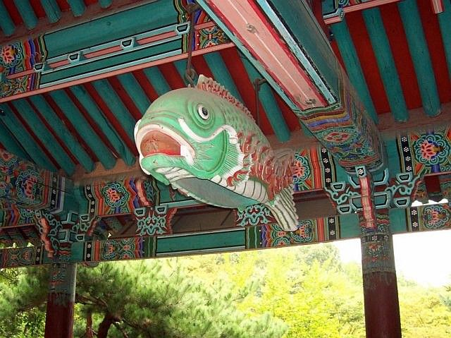 Yong-in folk village - Buddhist temple, hollow fish