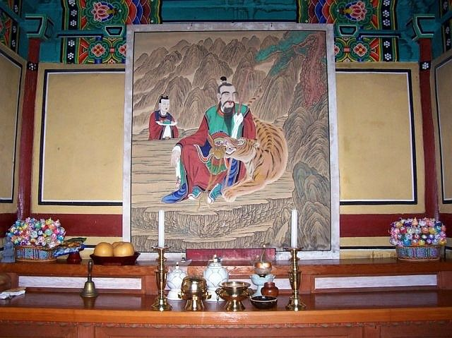 Yong-in folk village - Buddhist temple, Sansin (or Sanshin), the spirit of the mountain