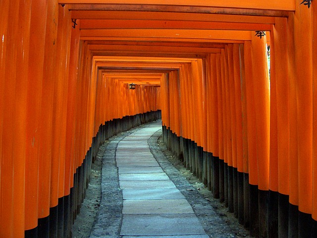 Fushimi Inari Shrine - Tunnel of toriis (side without inscription)