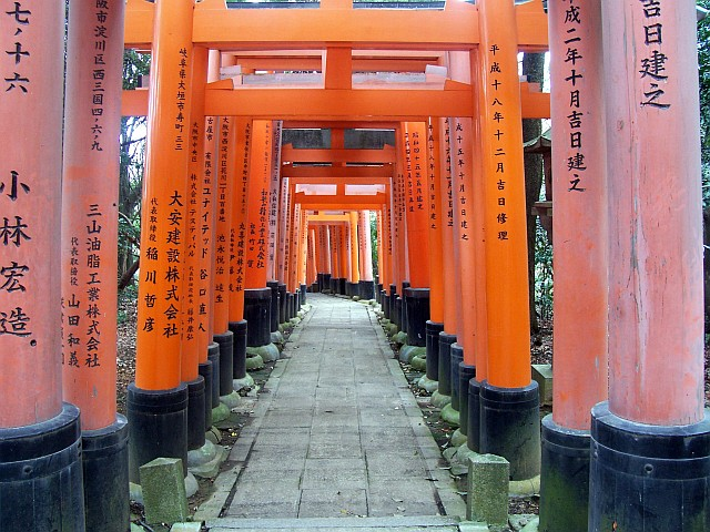 Fushimi Inari Shrine - Path covered with toriis