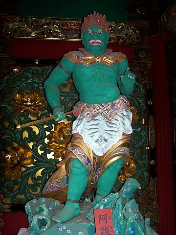 Taiyuin Byo shrine - Tamon-ten, guardian of the north (green)