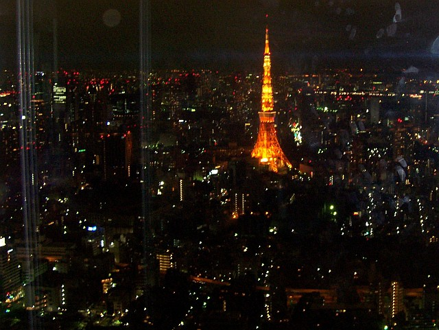 Roppongi hills - View over the tower of Tokyo from the panorama tower
