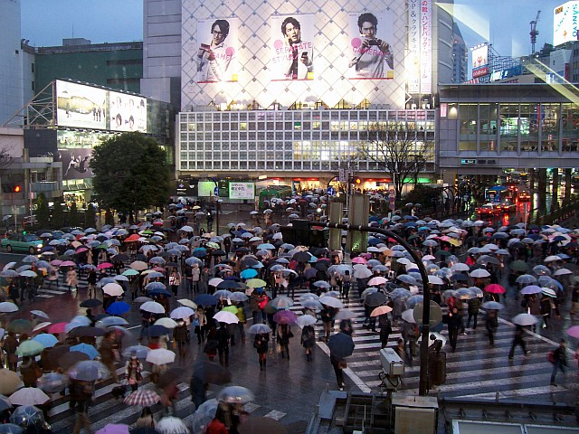 Pedestrians crossing the large crossroad of shibuya