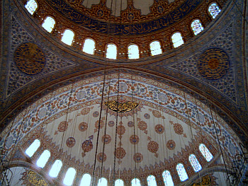 Inside the domes of the Blue Mosque