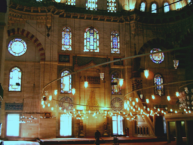 Interior of the Süleymaniye Mosque with mihrab and minbar