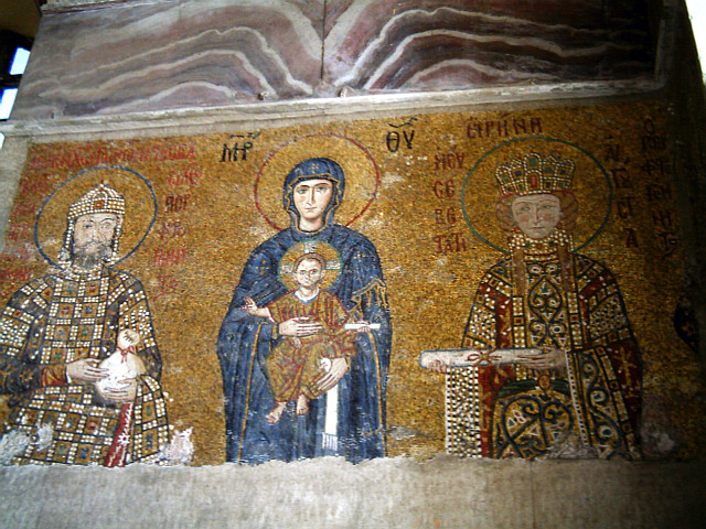 Golden mosaics of Hagia Sophia basilica - Virgin and Child