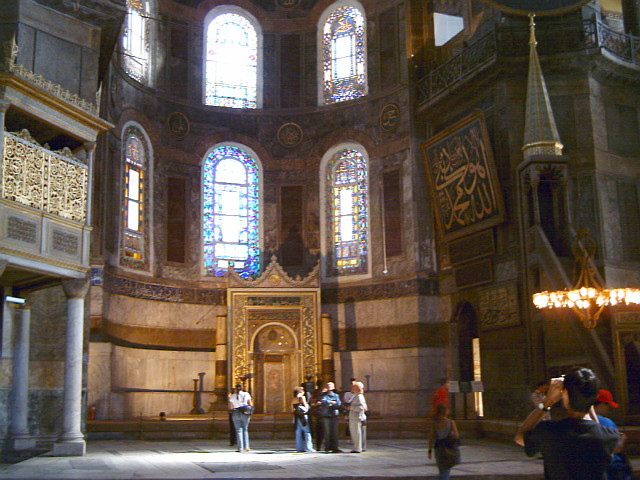 Lodge of the Sultan, mihrab and minbar in Hagia Sophia basilica