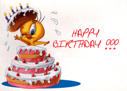 Happy birthday from Tweety going out of a cake