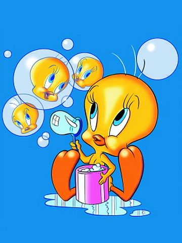Tweety and soap bubbles