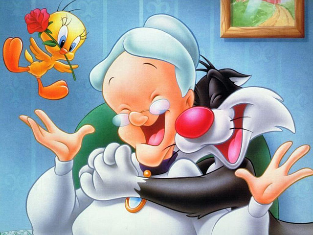 Tweety the bird, Sylvester the cat and Granny