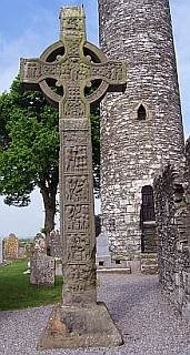 Round tower and tall cross