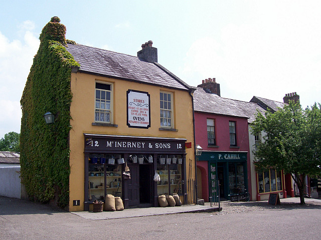 Bunratty folk village - Ironsmith and grocery in a street of a 19th century village