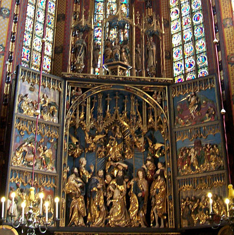 Cracovie - Grand retable de la basilique Notre-Dame de l'assomption