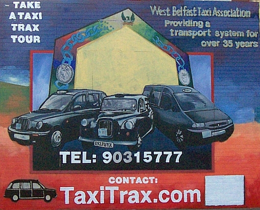 Mural, tribute to the taxis of Belfast