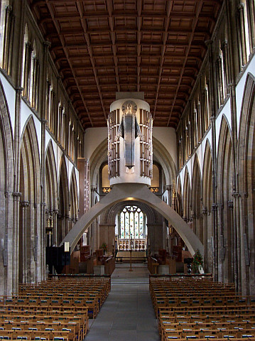 "Llandaff cathedral - Nave with Epstein's ""Christ in Majesty"""