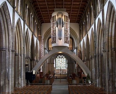 "Llandaff cathedral - Nave with Epstein's ""Christ in Majesty"" (view 2)"