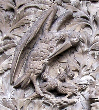 Llandaff cathedral - Sculpture of a pelican, a symbol of Christ
