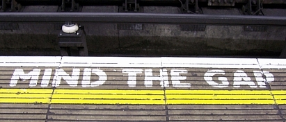 "London - Warning ""mind the gap"" in the subway"