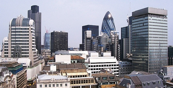 The City, large financial center