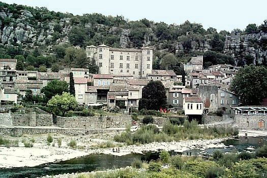 Vogüé and its castle, at the edge of ardeche river
