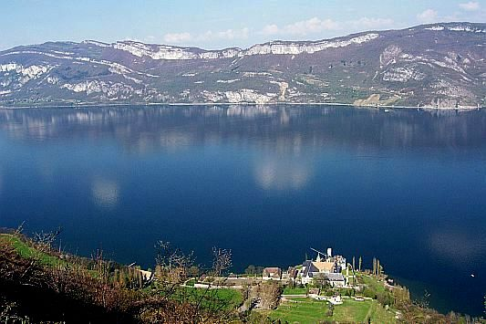 Lake of Bourget with view over the abbey