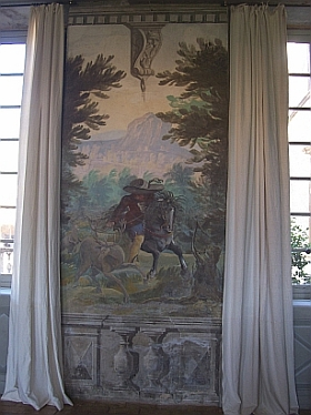 Fléchères castle - Summer living room, stag hunting scene
