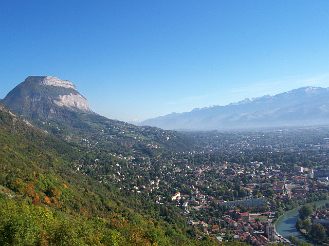 Grenoble at the foot of the Chartreuse and Oisans mountains