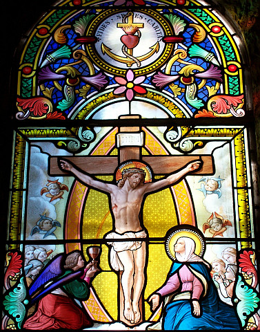 La Salette - Stained glass windows about Crucifixion