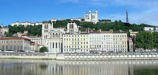 St John and Fourviere seen from Saone banks