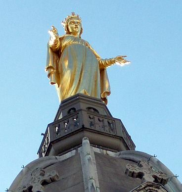 Fourviere basilica - Statue of the Madonna in bronze gilt