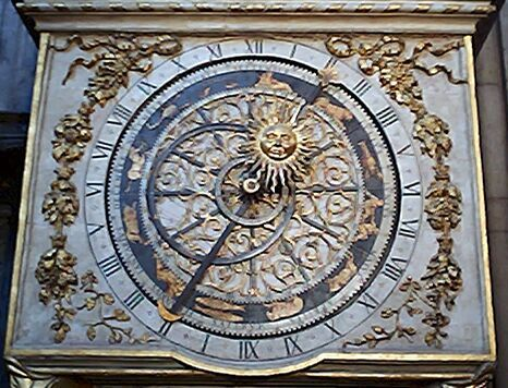 Clockface of the astronomical clock in St. John's cathedral