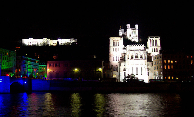 Illuminations in Lyon - St John's cathedral and Fourviere (2005)