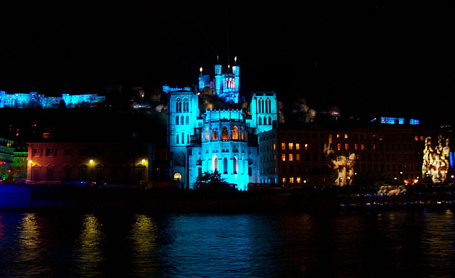 Illuminations in Lyon - St John's cathedral and Fourviere in blue (2005)